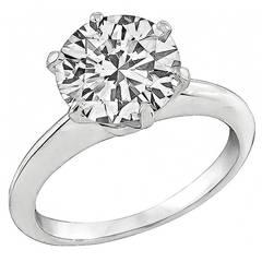 Tiffany & Co. 2.14 Carat Diamond Platinum Solitaire Engagement Ring