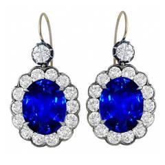 Sapphire Diamond Cluster Drop Earrings