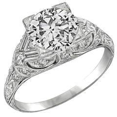 Art Deco GIA  2.04ct Diamond Engagement Ring