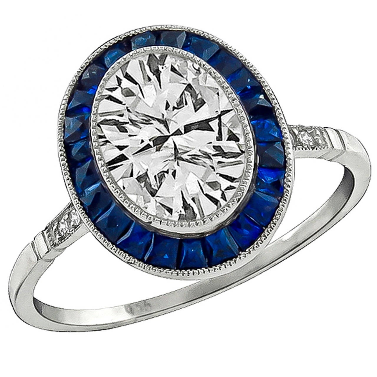 1 56 Carat Oval Cut Diamond Sapphire Halo Ring For Sale At