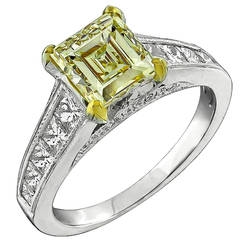 GIA 1.53ct Natural Fancy Light Yellow Diamond Gold Ring