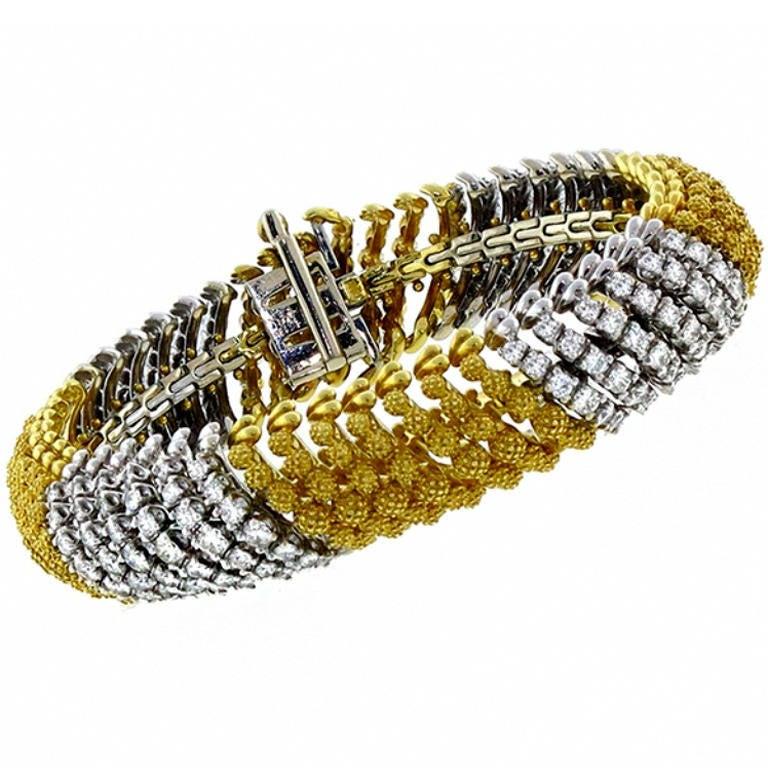 Diamond Yellow and White Gold Bracelet