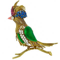 Enamel Ruby Sapphire Diamond Gold Bird Pin
