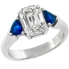 1.94 Carat GIA Cert Emerald Cut Diamond Sapphire platinum Ring