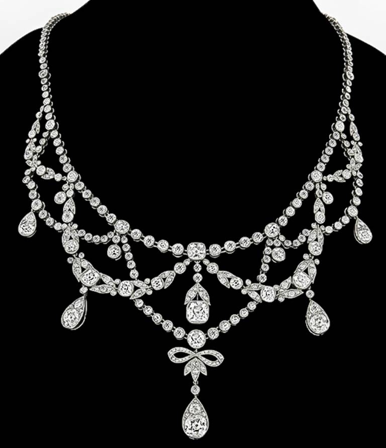 Edwardian French Diamond Platinum Necklace For Sale 1