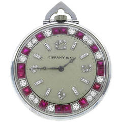 Rare Tiffany & Co. Diamond Ruby Platinum Pocket Watch