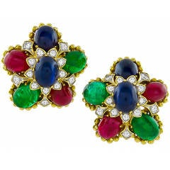 Emerald Sapphire Ruby Diamond Earrings
