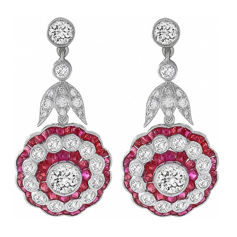 Impressive Ruby Diamond Gold Dangle Earrings