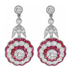 Impressive Ruby Diamond Gold Dangle Earrings