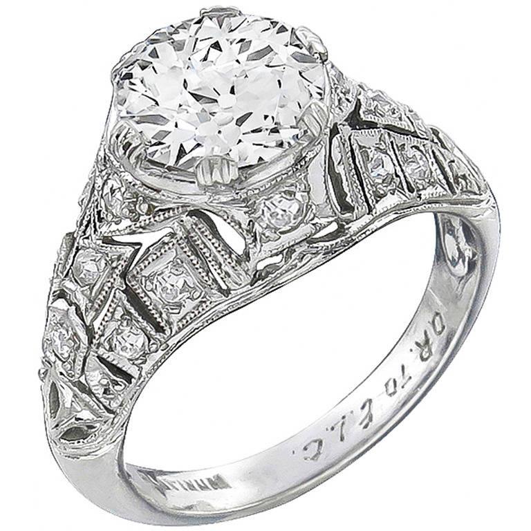 Art Deco GIA Certified Diamond Platinum Ring