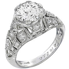Art Deco GIA Certified Diamond Platinum Ring