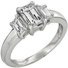 Emerald Cut Diamond Platinum Ring