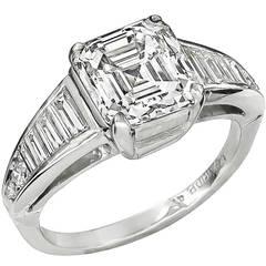 Stunning 3.01 Carat Asscher Cut Diamond Platinum Ring