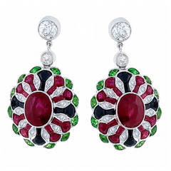Antique Style Tsavorite Onyx Ruby Diamond Earrings