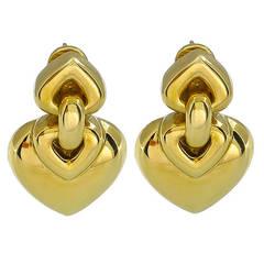 Bulgari Yellow Gold Heart Earrings