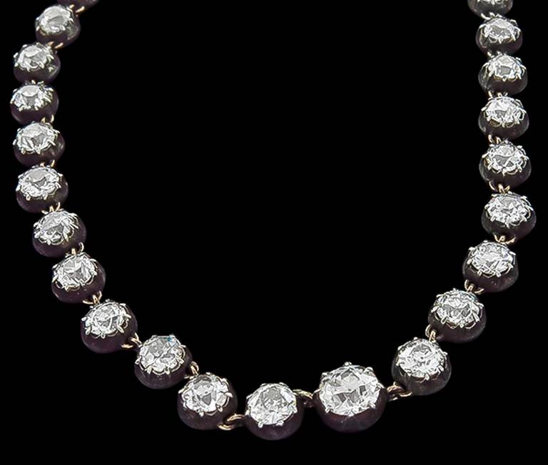 Georgian Diamond Silver Gold Necklace In Excellent Condition For Sale In New York, NY