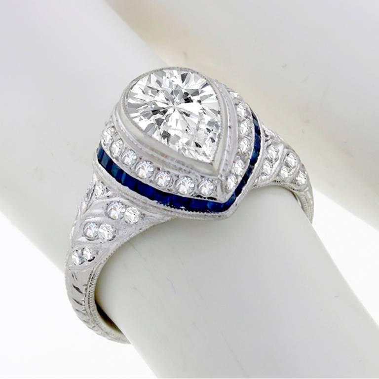 Art Deco Pear Shaped Sapphire Diamond Ring For Sale at 1stdibs