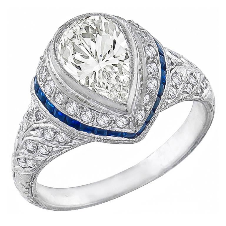 Art Deco Pear Shaped Sapphire Diamond Ring