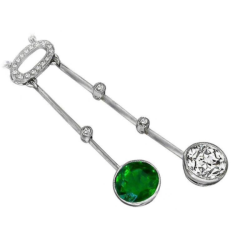Enticing Edwardian Emerald Diamond Drop Necklace For Sale