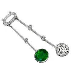 Enticing Edwardian Emerald Diamond Drop Necklace