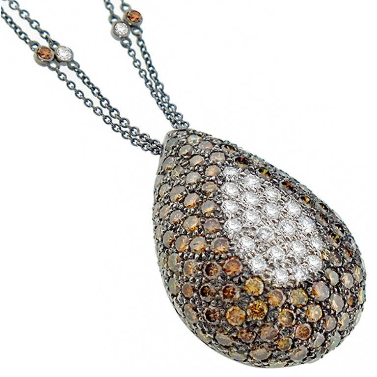 Fancy Color and White Diamond Gold Pendant Necklace