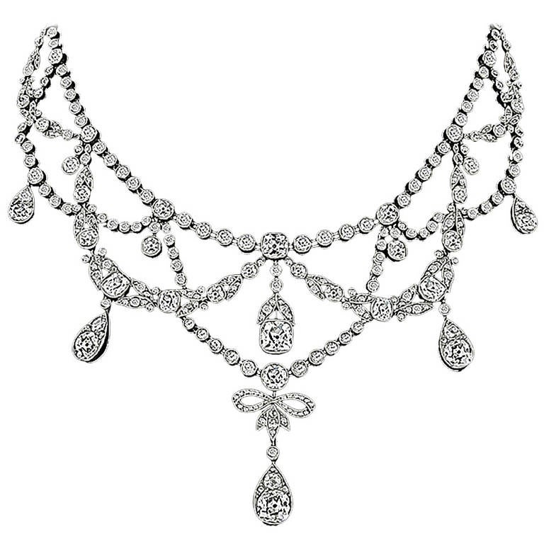Edwardian French Diamond Platinum Necklace