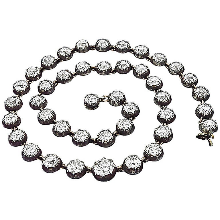 Georgian Diamond Silver Gold Necklace