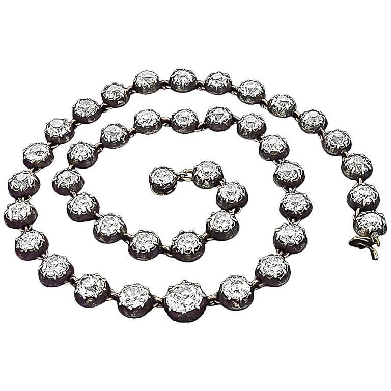 Georgian Diamond Silver Gold Necklace For Sale