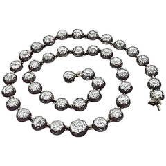 Georgian Diamond Silver Gold Necklace