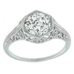 Edwardian GIA Certified Diamond Platinum Ring