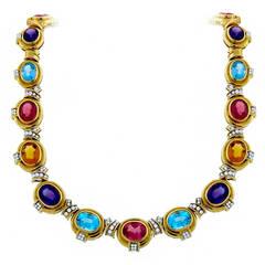 1970s Semi Precious Stones Diamond Gold Necklace