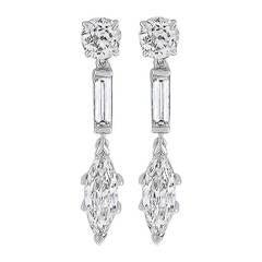 4.90 Carat Diamond Gold Earrings