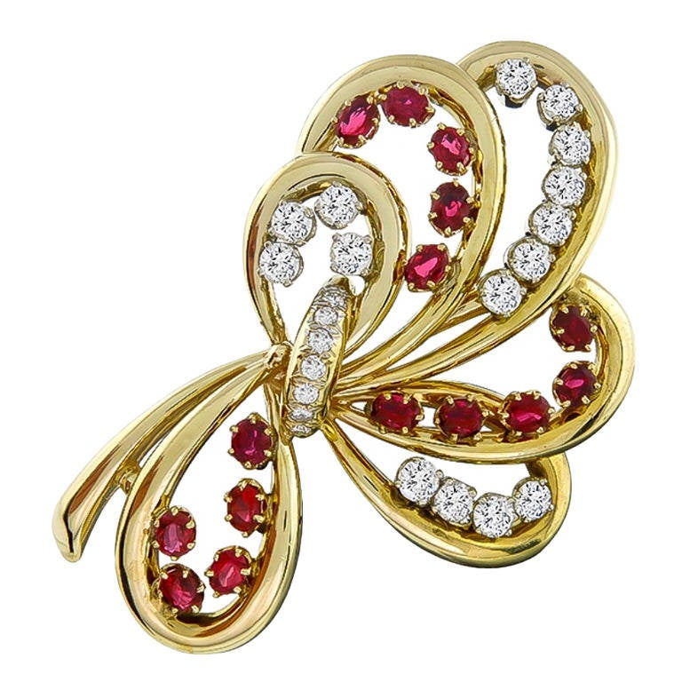 Ruby Diamond Gold Pin