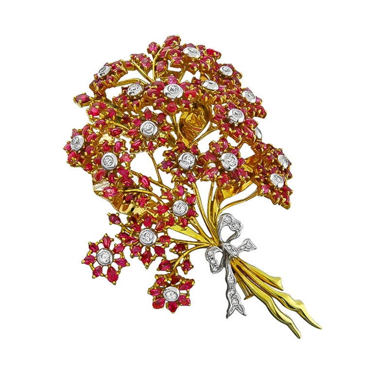 1960s Diamond Ruby Gold Flower Bouquet Pin