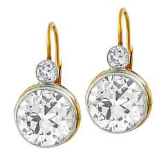 Victorian Diamond Gold Platinum Earrings