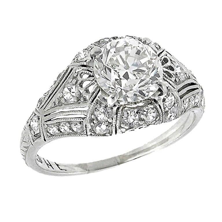Edwardian Old European Cut Diamond Platinum Ring