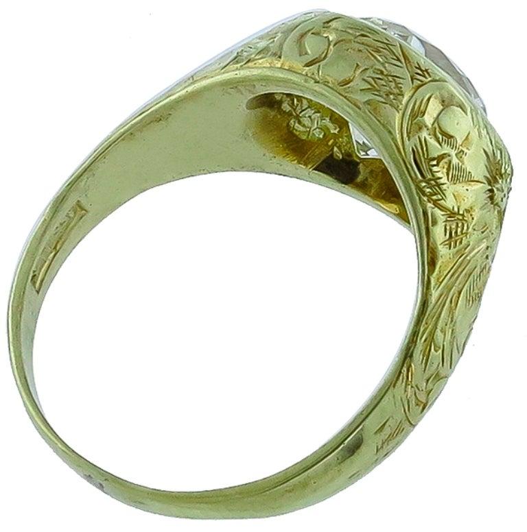 antique 2 33 carat light fancy yellow gold