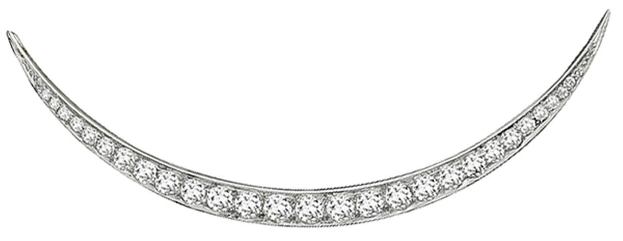 Stunning Vintage Tiffany & Co. Diamond Crescent Brooch 4