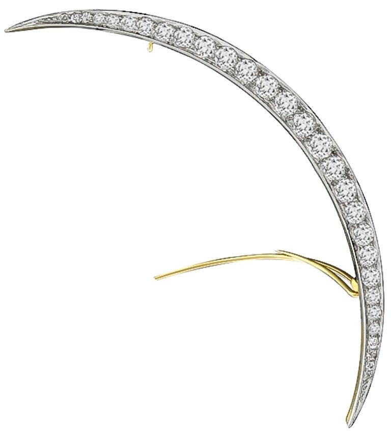 Stunning Vintage Tiffany & Co. Diamond Crescent Brooch 2