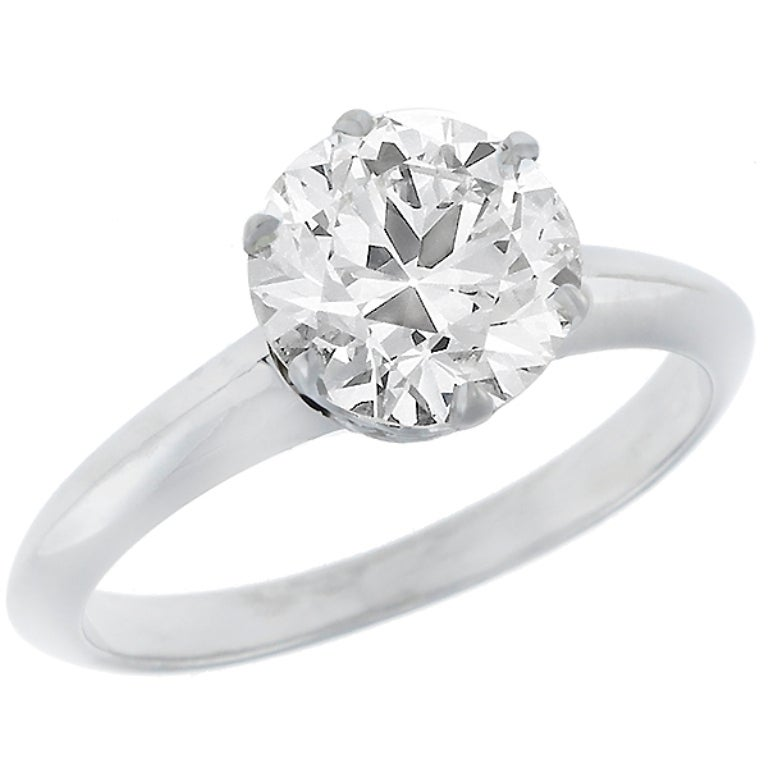 Contemporary Tiffany & Co. 1.52 Carat Diamond Platinum Engagement Ring For Sale