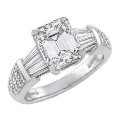 2.30 Carat Emerald Cut Diamond Platinum Ring