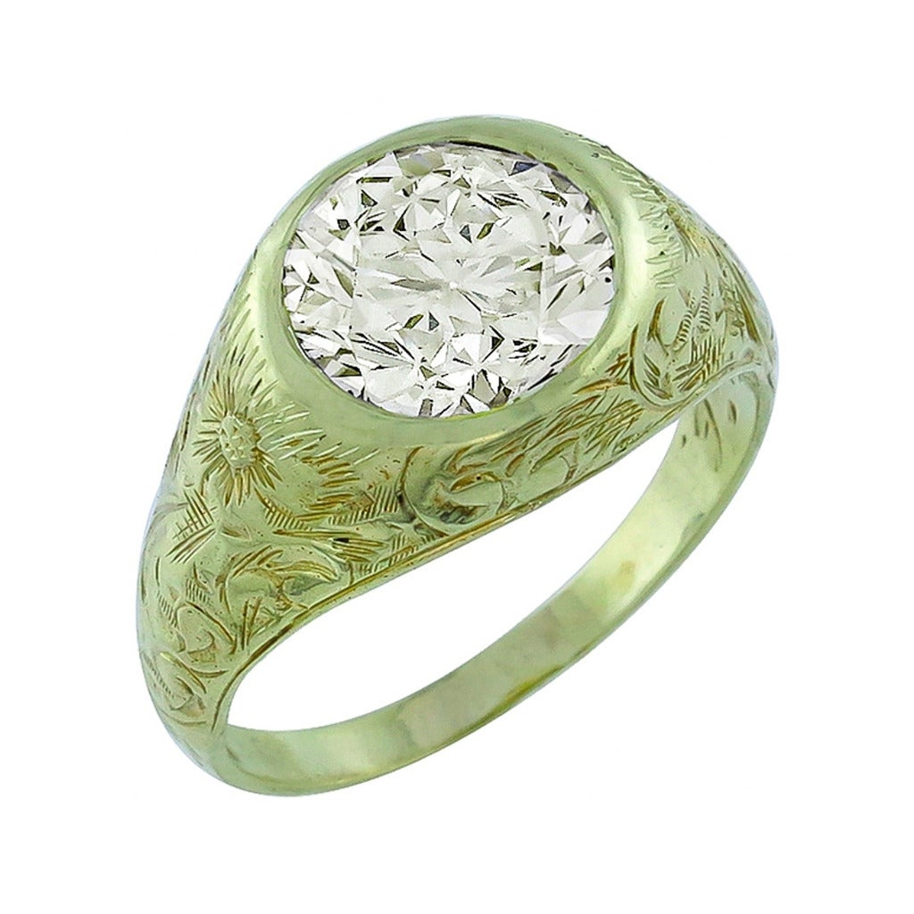 Antique 2.33 Carat Light Fancy Yellow Diamond Gold Engagement Ring