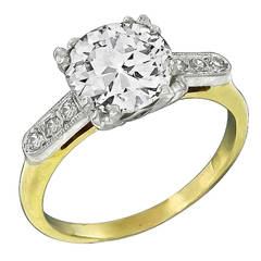 2.05 Carat Old Mine Cut Diamond Gold Engagement Ring