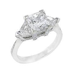 2.21 Carat Princess Cut Diamond Platinum Ring