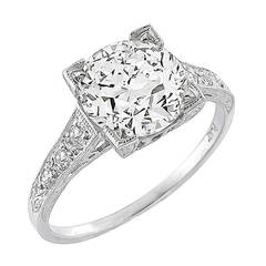 Art Deco 2.08 Carat Diamond Platinum Ring
