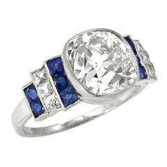 Antique 3.03 Carat Diamond Sapphire Ring