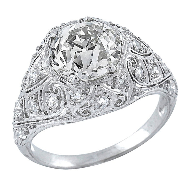 Antique carat diamond platinum ring for sale at 1stdibs for 26 carat diamond ring