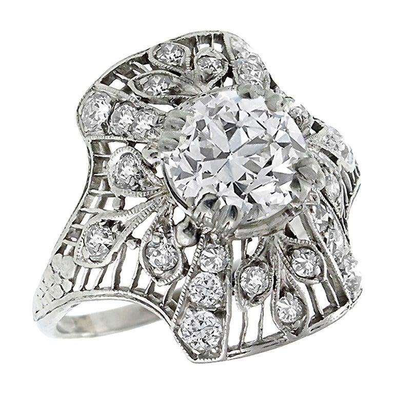 Art Deco 1.50 Carat Diamond Platinum Ring