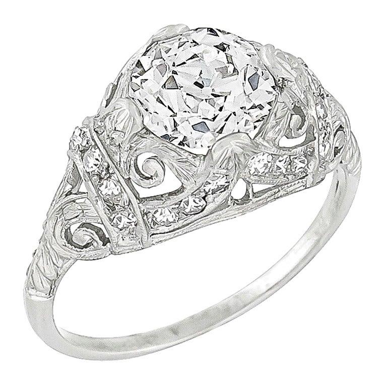 Edwardian 1.43 Carat Diamond Platinum Ring