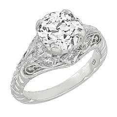Edwardian 1.39 Carat Old European Cut Diamond Platinum Ring